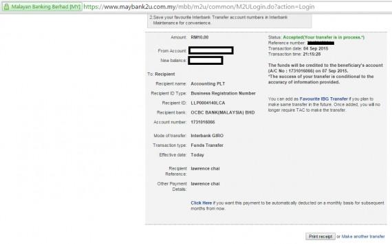 Maybank2u Online Fund Transfer Guide Step 4