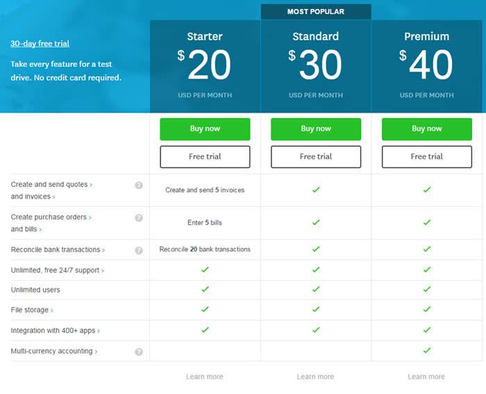 Xero Cloud Accounting Software Pricing
