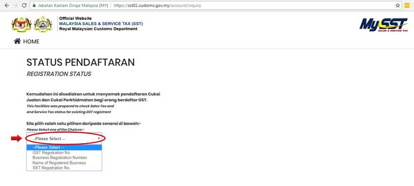 Status Pendaftaran SST Malaysia - Langkah 2
