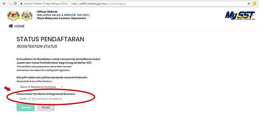 Status Pendaftaran SST Malaysia - Langkah 3