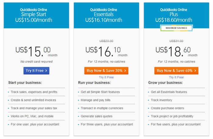 QuickBooks在线价目表