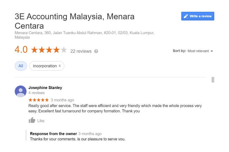 3E Accounting Malaysia Client Testimonial